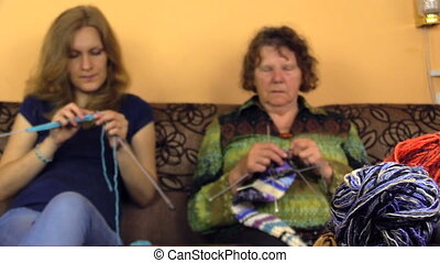 woman knit generation - two generations together friendly...