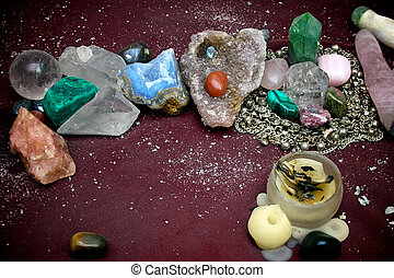 close up of pagan alter - Varied collection of quartz...