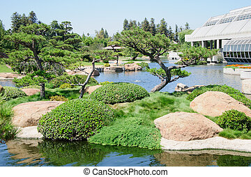Beautiful view of Japanese Garden in Los Angeles park,...