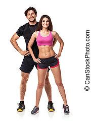 kvinna, atletisk, par, efter,  -,  fitness, vit, Övning,  man