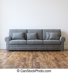 Grey Textile Classic Sofa In Minimalist Interior Room