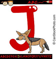 letter j for jackal cartoon illustration - Cartoon...