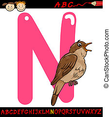 letter n for nightingale cartoon illustration - Cartoon...