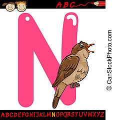 letter n for nightingale cartoon illustration - Cartoon...