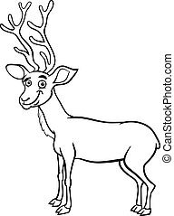 wapiti deer cartoon coloring page - Black and White Cartoon...