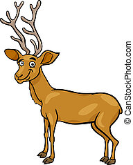 wapiti deer cartoon illustration - Cartoon Illustration of...