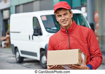 delivery man with package outdoors