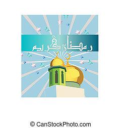 ramadan kareem - a beautiful design of masjid with writing...