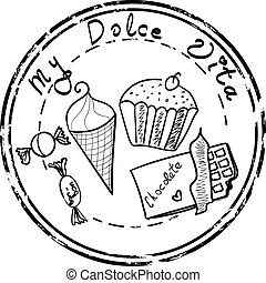 Sweet food set stamp isolated on a white background