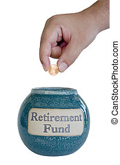 RETIREMENT FUND - hand saving depositing a penny in the...