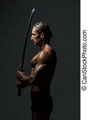 Fuerte, hombre, con, samurai, espada