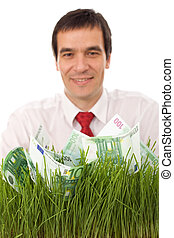 Confident businessman involved in green business