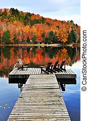 de madera, muelle, otoño, lago