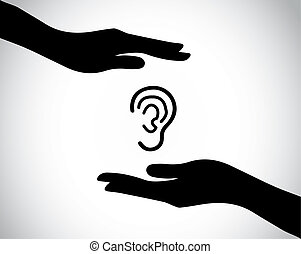 ear or listening check up or protection with hand silhouettes. hands protecting and safeguarding a tender ear - health and medical concept illustration art
