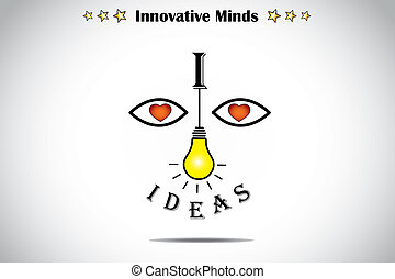 I love ideas face with bright light yellow lightbulb art...