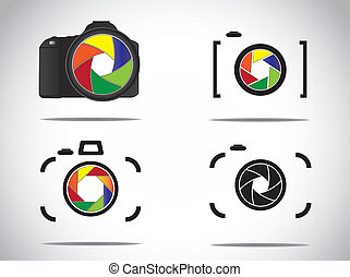 Illustration stylish camera icons - Concept Illustration of...