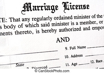 Marriage License - Closeup of Marriage License document form...