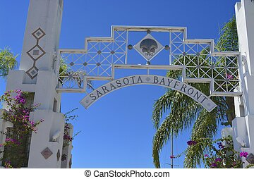 Sarasota bayfront, entrance to marina, Florida, USA