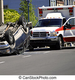 Car Wreck with Rolled Car Police and Ambulance
