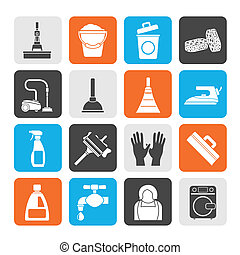 Cleaning and hygiene icons - Silhouette Cleaning and hygiene...