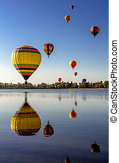 Hot Air Balloon Festival - Multi-colored hot air balloons...