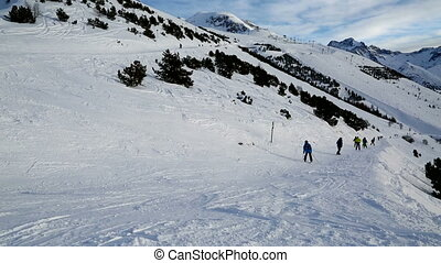Skiing - Ski slope in cold weather