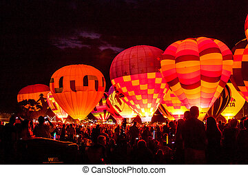 Hot Air Balloon Festival - Group of hot air balloon lit up...