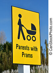 Parents with prams sign symbol - Detail of a signpost...