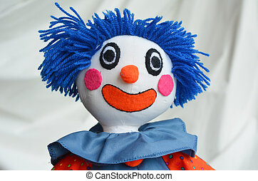 Handmade clown doll - Portrait of handmade clown doll on...