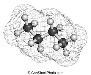 Butane hydrocarbon molecule. Commonly used as fuel gas,...