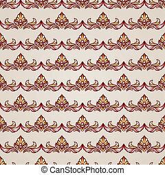 Stripy floral seamless pattern in brown and beige, EPS10