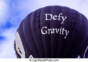 Hot Air Balloon Festival - Close up of black hot air balloon...