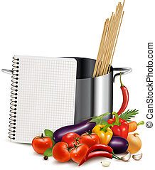 Recipe template Cookbook, vegetables and casserole Vector