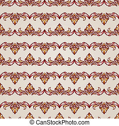 Stripy floral seamless pattern in brown and beige colors,...