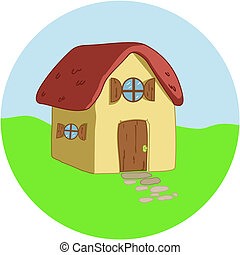 Cartoon house on a circular background