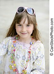 Beautiful little girl portrait in outdoors - Beautiful...