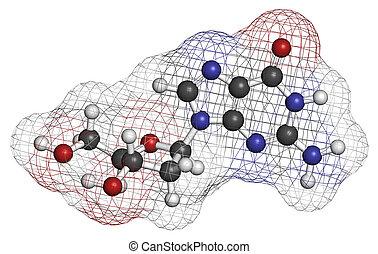 Deoxyguanosine (dG) nucleoside molecule. DNA building block....