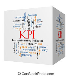 KPI Word Cloud Concept on a 3D Cube - KPI 3D cube Word Cloud...