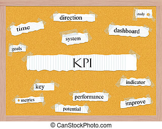 KPI Corkboard Word Concept with great terms such as key,...