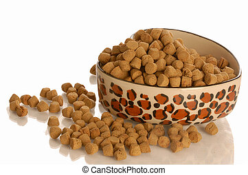 pet food dish - bowl of dog kibble in a heart shaped dog...