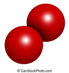 Elemental oxygen O2, molecular model Atoms are represented...