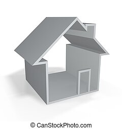 grey house - hollow grey house isolated on white background