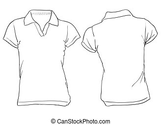 Women's White Polo Shirt Template - Vector illustration of...