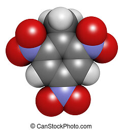 Trinitrotoluene TNT high explosive molecule Atoms are...