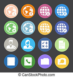 Flat Color style mobile phone icons network icons vector...