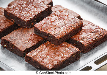 brownie - chocolae chip brownies with almond slice