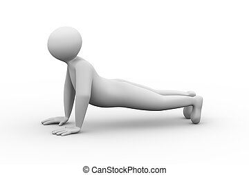 3d person doing push up exercise