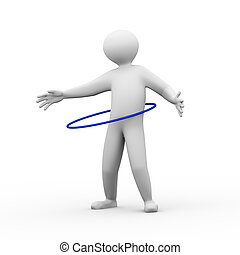 3d person plays hula hoop exercise - 3d illustration of man...
