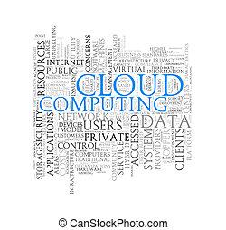 Word tags wordcloud of cloud computing