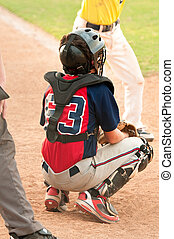 Teen Baseball Catcher - Teen boy baseplayer player as...